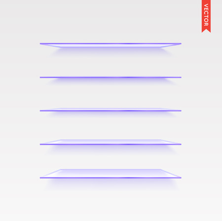 glass shelves: Set of Glass Shelves Vector Isolated on the Wall Background