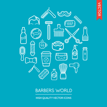 inscribed: Vector Set of Barber Shop Modern Flat Thin Icons Inscribed in Round Shape Illustration
