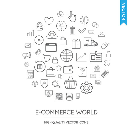 inscribed: Vector Set of E-Commerce Modern Flat Thin Icons Inscribed in Round Shape