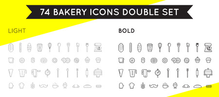 graphic icon: Set of Vector Bakery Pastry Elements. Thin and Thick Set Illustration