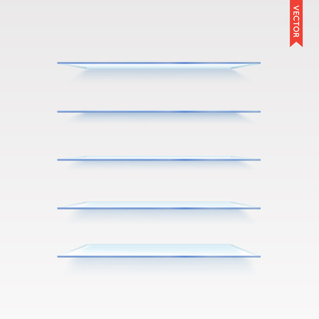 exhibit houses: Set of Glass Shelves Vector Isolated on the Wall Background