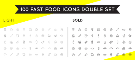Set of Thin and Bold Vector Fastfood Fast Food Elements Icons and Equipment as Illustration