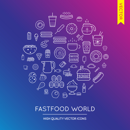 inscribed: Vector Set of Fast Food Modern Flat Thin Icons Inscribed in Round Shape