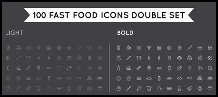 panini: Set of Thin and Bold Vector Fastfood Fast Food Elements Icons and Equipment as Illustration