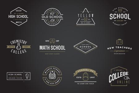 Conjunto de Escuela o Colegio vectorial Identidad elementos se pueden utilizar como logotipo o icono de primera calidad
