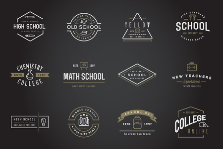 Set of Vector School or College Identity Elements can be used as Logo or Icon in premium quality