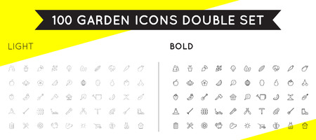 Set von dünnen und kräftigen Vektor Garten und Bauernhof Elemente und Obst oder Gemüse Icons Illustration