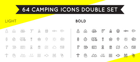 bear trap: Set of Thin and Bold Vector Hunting Camping Sport Elements