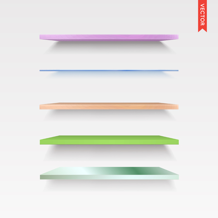 glass shelves: Set of Glass, Wood, Plastic, Metal Shelves in Vector Isolated on the Wall Background