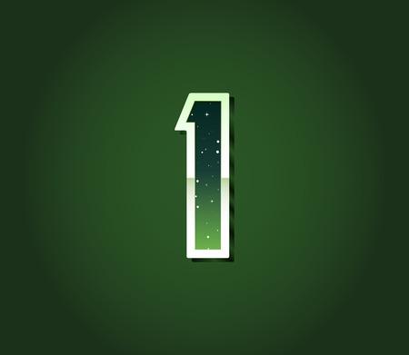 pulsar: Green 80s Retro Sci-Fi Font with Stars Inside Letters. Alphabet Vector Illustration
