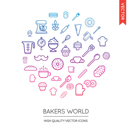 inscribed: Vector Set of Bakery Modern Flat Thin Icons Inscribed in Round Shape