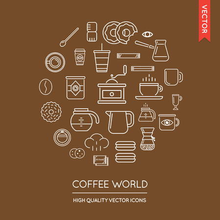 Vector Set of Coffee Modern Flat Thin Icons Inscribed in Round Shape Illustration