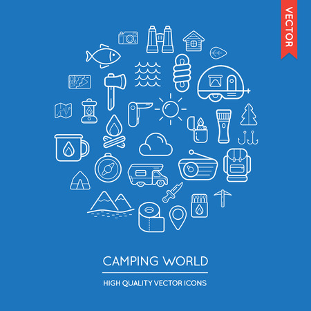 inscribed: Vector Set of Camping Modern Flat Thin Icons Inscribed in Round Shape