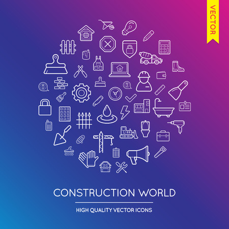 inscribed: Vector Set of Construction Modern Flat Thin Icons Inscribed in Round Shape