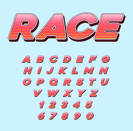 Vector Speed Racing Sport Italic Font with Letters and Numbers Vettoriali