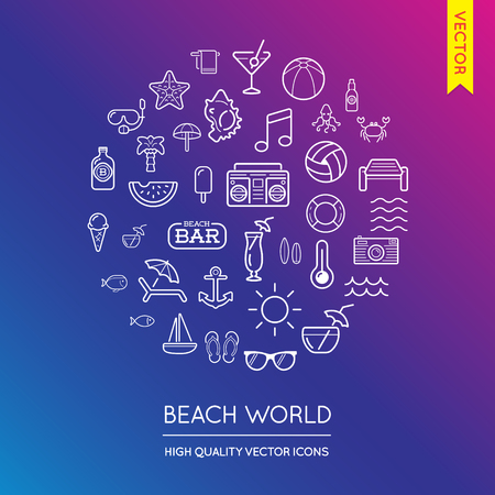 inscribed: Vector Set of Beach Modern Flat Thin Icons Inscribed in Round Shape