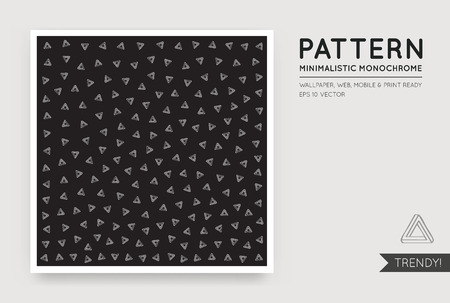 daring: Vector Black Abstract Background with Seamless Random White Monochrome Figures