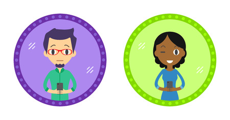 woman cellphone: Set of Two Hipster style character take a selfie in the mirror with Smartphone. Vector flat design illustration in the circle isolated on background. Man and Woman.