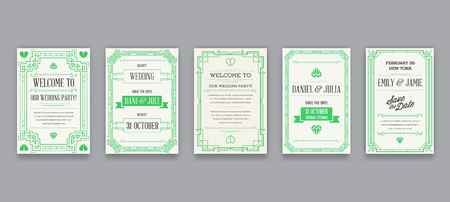 Set of Great Quality Style Invitation in Art Deco or Nouveau Epoch 1920s Gangster Era Collection Vector Illustration