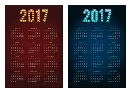 2017 Calendar Set. Abstract. Week Starts from Sunday. Vector illustration. Print Ready Collection.