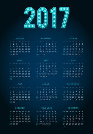 2017 Calendar. Abstract. Week Starts from Sunday. Vector illustration. Print Ready
