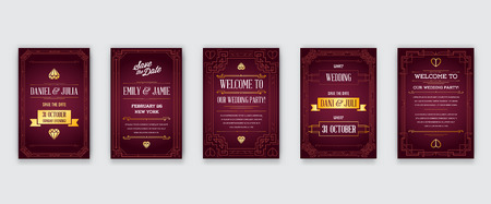 Set of Great Quality Style Invitation in Art Deco or Nouveau Epoch 1920s Gangster Era Collection Vector 向量圖像