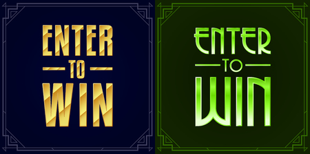 Set of Enter to Win Sweepstakes Vector Signs