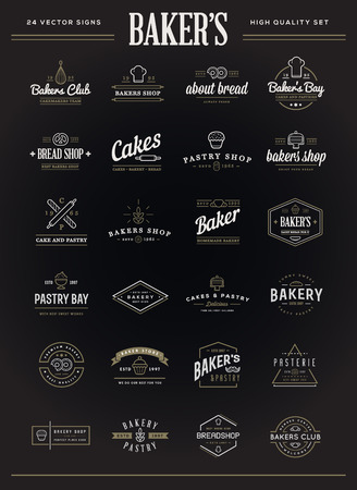 Set of Vector Bakery Pastry Elements and Bread Icons Illustration can be used as Logo or Icon in premium quality Ilustração