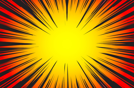 Hyper Speed Warp Sun Rays or Explosion Boom for Comic Books Radial Background Vector Ilustrace