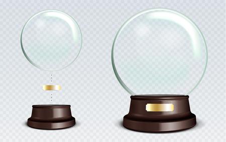Vector Leere Schnee-Kugel. Weiß transparente Glaskugel auf einem Ständer mit Metallschild mit Blendungen und Highlights. Standard-Bild - 77908964