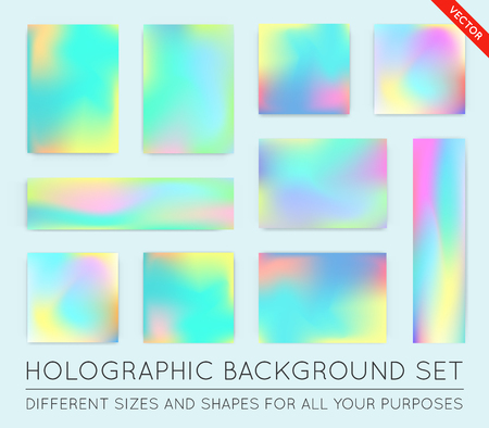 applicable: Fluid colors backgrounds set. Holographic effect. Applicable for gift card,cover,poster,brochure,magazine. Vector template.