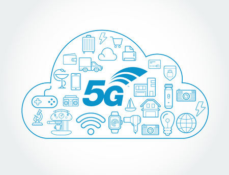 5G IOT Internet of Things Smart Home Vector Quality Design with Icons Vettoriali