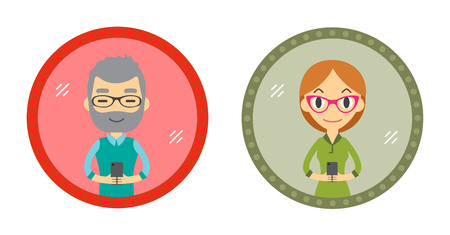 Set of Two Hipster style character take a selfie in the mirror with Smartphone. Vector flat design illustration in the circle isolated on background. Man and Woman.