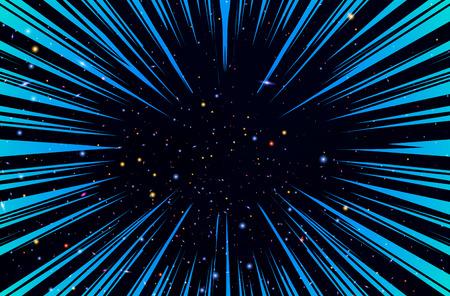 超高速ワープ太陽光線や漫画本の放射状の背景のベクトルの爆発ブーム