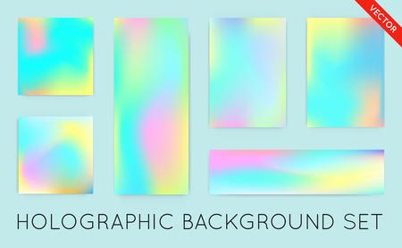 Fondo holográfico. Vibrante neón textura en colores pastel. Glitch del holograma para el diseño de la tela. Conjunto de telón de fondo de estilo hipster. Fondo de moda de vectores para la moda o productos impresos.