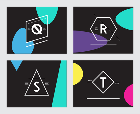 Set of Minimal Geometric Lined Template for Hipster Identity in Vector