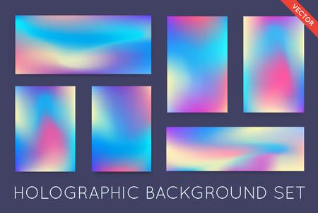 ホログラムのトレンディな背景のセットです。カバー、本、印刷、ファッションに使用できます。  イラスト・ベクター素材