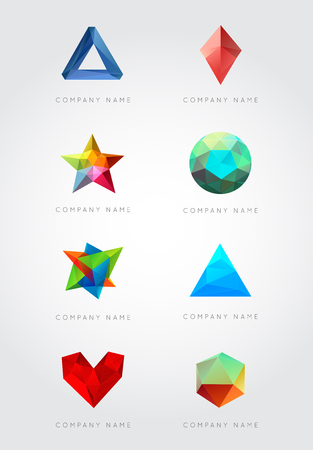 Big Set of Trendy Crystal Triangulated Gem Logo Elements. Perfect for Business. Geometric Low Polygon Style. Visual Identity. Vector. Illustration