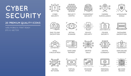 ddos: Cyber Security Thin Line icons set. Computer network protection. High Quality Premium outline symbol collection. Stroke vector logo concept.Cybersecurity. Illustration