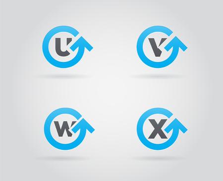 Set van cirkel pijl Logo pictogram ontwerp met brief. Sjabloonelement in Vector.