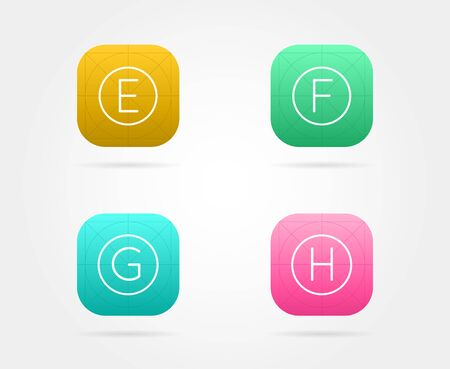 Set of App Icon Template with Guidelines. Vector Fresh Colour Stock Vector - 77909843