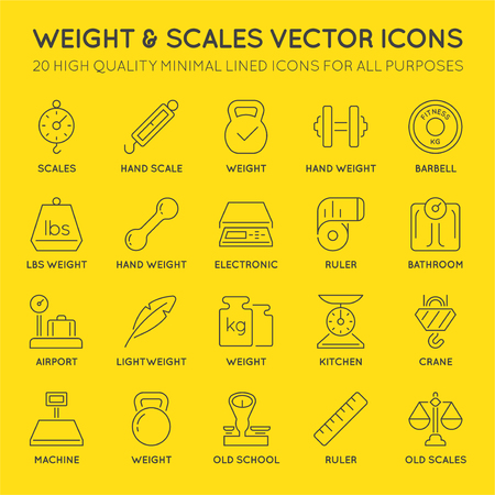 48x48: Set of Minimal Weight and Scales Related Vector Line Icons. Perfect Pixel. Thin Stroke. 48x48. Illustration