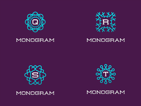 Set of Compact Monogram Design Template with Letter. Vector Illustration Premium Elegant Quality.