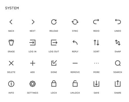 System Benutzeroberfläche (UI) Vector Icon Set. Hohe Qualität Minimal Lined Icons für alle Zwecke.