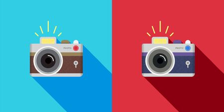 Set of Retro camera in a Flat style. Vector. Illustration