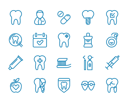 Set of Minimal Dentist Dental Clinic Vector Line Icons. Perfect Pixel. Thin Stroke. 48x48.