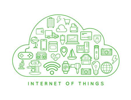 アイコンで物事スマート ホーム ベクトル品質デザインの雲 IOT インターネット