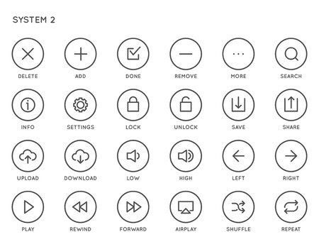 Conjunto de iconos de vector de la interfaz de usuario del sistema (UI). Los iconos alineados mínimos de alta calidad para todos los propósitos.