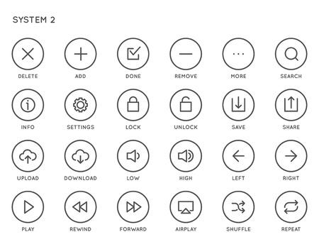 Ensemble d'icônes vectorielles d'interface utilisateur système (UI). Icônes à double épaisseur de haute qualité pour tous les buts.