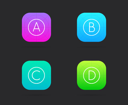 Set of App Icon Template with Guidelines. Vector Fresh Colour Illustration